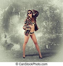 ragazza, lusso, moda