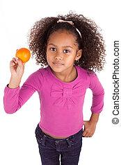 ragazza, mandarino, presa a terra, africano