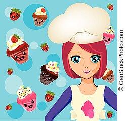 ragazza, manga, 2, chef