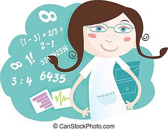 ragazza, matematica