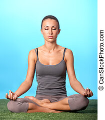 ragazza, meditare