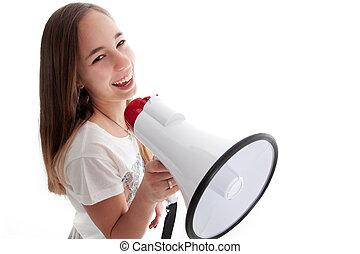 ragazza, megafono