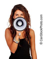 ragazza, megafono, attraente