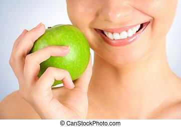 ragazza, mela