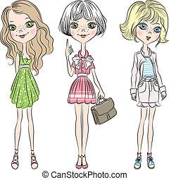 ragazza, moda, carino, set, vettore, bello