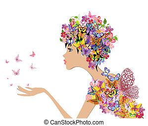 ragazza, moda, fiori, con, farfalle