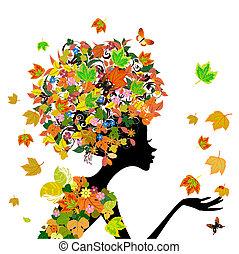 ragazza, moda, fiori, in, autunno