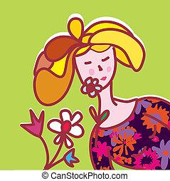 ragazza, moda, fiori, scheda
