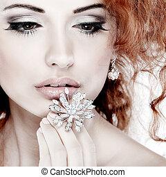 ragazza, moda, portrait., hair., fondo, isolato, accessorys., bianco rosso