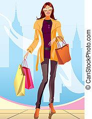 ragazza, moda, shopping