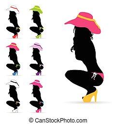 ragazza, moda, silhouette, illustrazione, colorito