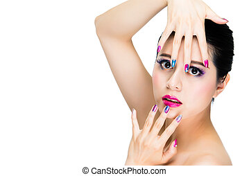 ragazza, modello, concetto, trendy, colpo studio