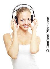 ragazza, musica, bianco, ascolto