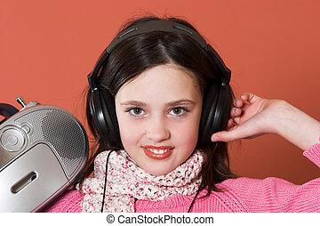 ragazza, musica, carino, ascolto