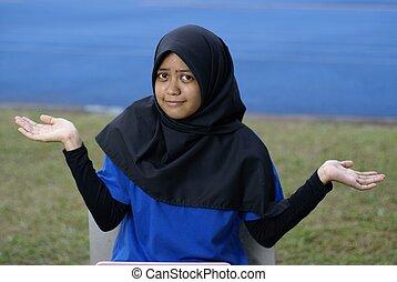 ragazza, musulmano, asiatico, sguardo, confuso