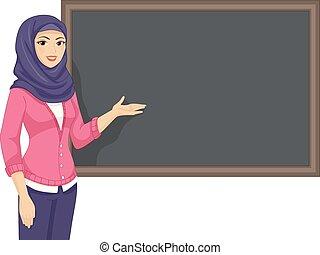 ragazza, musulmano, insegnante, illustrazione, asse