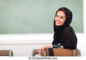 ragazza, musulmano, università