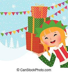 ragazza, natale, elfo, con, regali