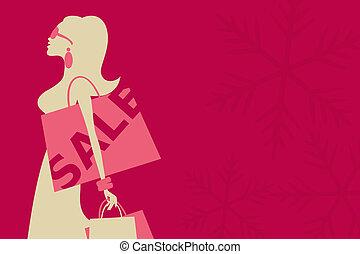ragazza, natale, vendita