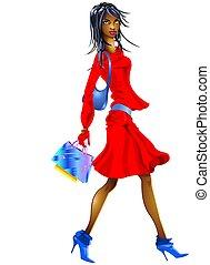 ragazza nera, shopping