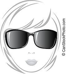 ragazza, nero, occhiali