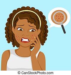 ragazza, nero, pimples