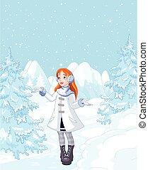 ragazza, nevicata, godere, carino