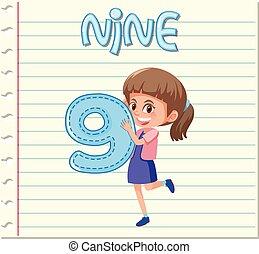 ragazza, nove, numero, presa a terra