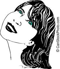 ragazza, occhi verdi
