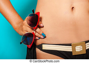 ragazza, occhiali da sole, bikini