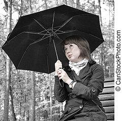 ragazza, ombrello