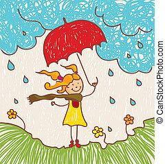 ragazza, ombrello, rosso