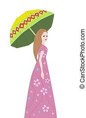 ragazza, ombrello, tuo, romantico, disegno