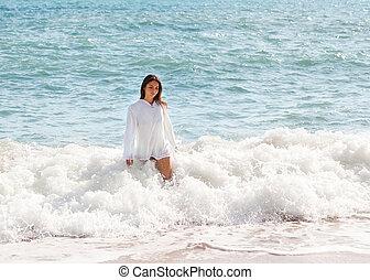 ragazza, onde, mare, camminare