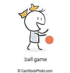 ragazza, palla, cartone animato, gioco