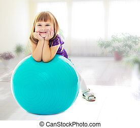 ragazza, palla, idoneità