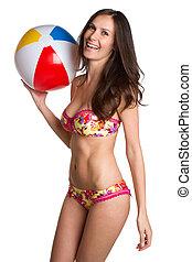 ragazza, palla, spiaggia