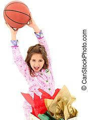 ragazza, pallacanestro, natale, eccitato