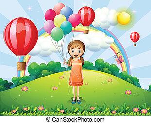 ragazza, palloni, presa a terra
