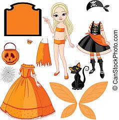 ragazza, papà, halloween, vestiti