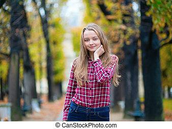 ragazza, parco, giovane, carino, cadere