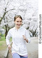ragazza, parco, jogging