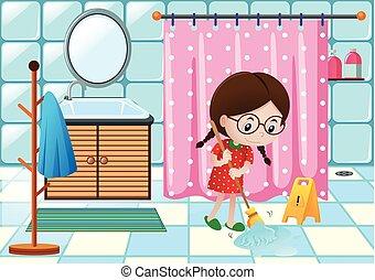 ragazza, pavimento, bagno, pulizia