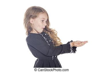 ragazza piccola sorprenda, presa a terra, qualcosa, su, il, hands., concetto, per, adv., isolato, bianco, fondo