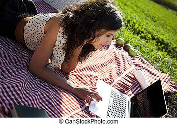 ragazza, picnic