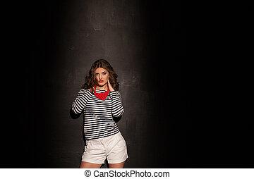 ragazza, pinup, moda, stili, su, sfondo nero