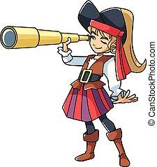 ragazza, pirata, spyglass