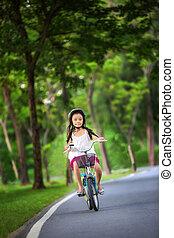 ragazza, poco, lei, bicicletta, asiatico