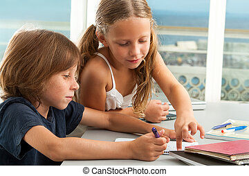 ragazza, porzione, ragazzo, con, homework.