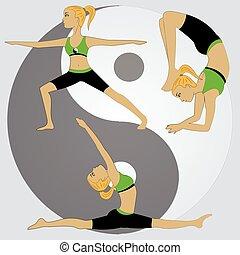 ragazza, pose, yoga